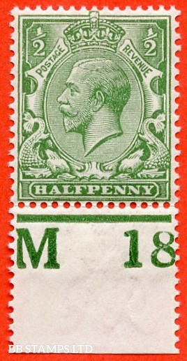 """SG. 351. ½d Green. A fine mounted mint """" M18 perf """" control single"""