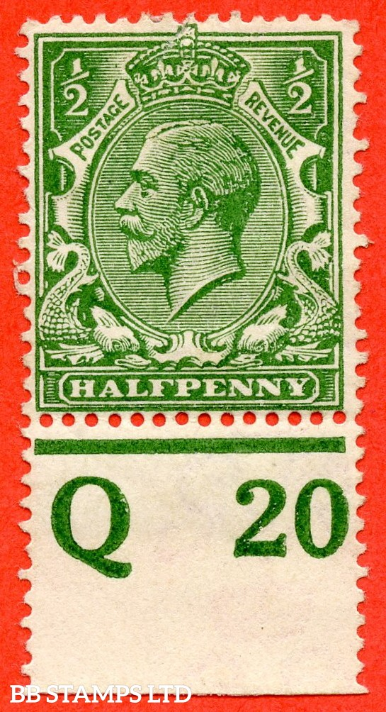 """SG. 351. ½d Green. A fine mounted mint """" Q20 perf """" control single"""