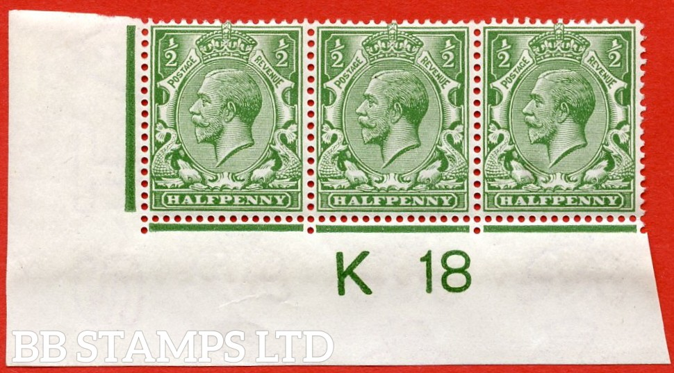 "SG. 354. N14 (8). ½d yellow green.  A fine mounted mint "" control K18 imperf "" strip of 3. Watermark type II which is UNLISTED in SG."
