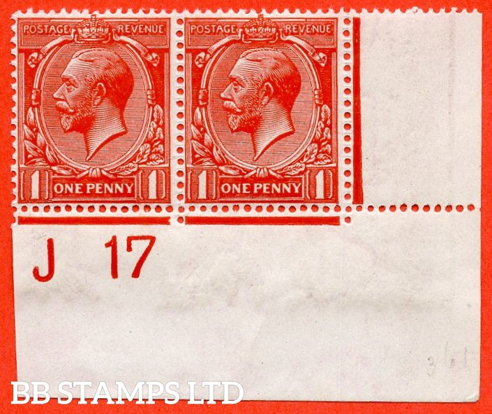 "SG. 361. N16 (14 ). 1d Scarlet - Vermilion. A super UNMOUNTED MINT control "" J17 imperf "" bottom right hand corner marginal pair. Perf type 2 and complete with Hendon certificate."