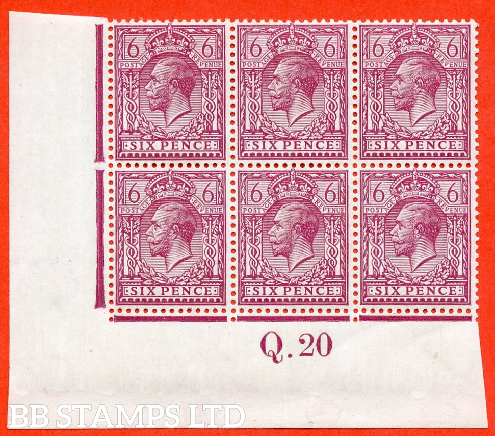 "SG. 385 a. N 26 (3) e. 6d reddish purple. "" Perf. 14 "". A super totally UNMOUNTED MINT control "" Q.20 imperf "" block of 6. Perf type 2 and watermark type III."