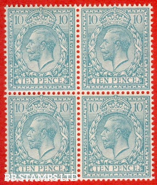 SG. N31 (Unlisted variety ). 10d Pale Turquoise Blue. A Superb unmounted mint BLOCK OF FOUR of this scarce known but UNLISTED George V shade variety. With certificate.