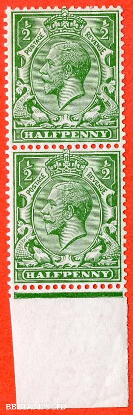 """SG. 352. N14 (6) ea. ½d bright green. """" DOUBLE WATERMARK """". A very fine UNMOUNTED MINT bottom marginal vertical pair. Complete with RPS certificate."""