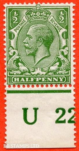 "SG. 351. ½d Green. A fine mounted mint "" U22 perf "" control single"
