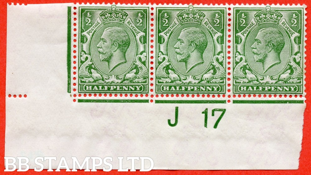 """SG. 351. N14 (1) k. ½d Green. A very fine UNMOUNTED MINT control """" J17 imperf """" strip of 3. From plate 43b and including the listed variety """" coloured mark on right dolphins eye ( Plate 43. Row 20/2 ) """". Watermark Type III."""