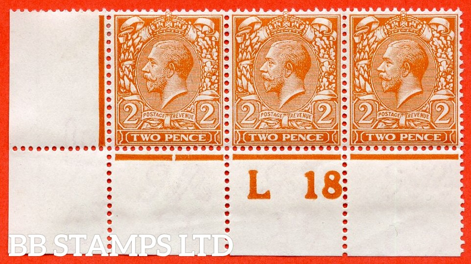 """SG. 367 Variety N19 (3). 2d Deep Reddish - Orange (Die1). A fine mint ( 1 stamp UNMOUNTED MINT ) control """" L18 perf """" strip of 3 complete with Hendon certificate."""