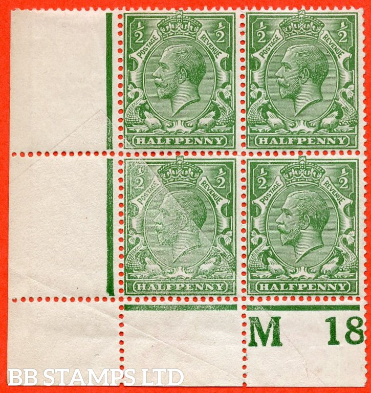"SG. N14 (3). ½d pale green. A very fine mint control "" M18 perf "" block of 4. Perf type 2A. Watermark type III. With a fine partial UNCALENDERED PAPER ERROR due to paper fold."