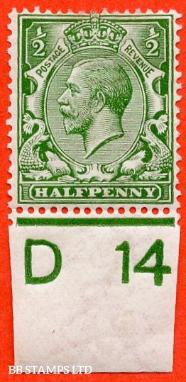 """SG. 351. ½d Green. A fine mounted mint """" D14 imperf """" control single."""