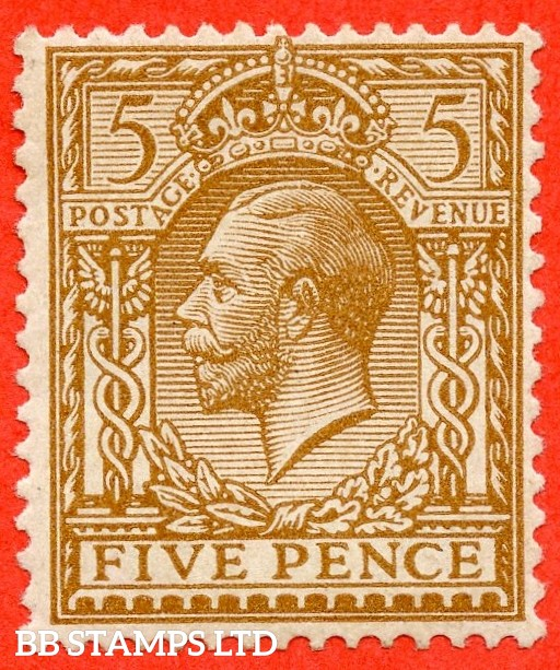 """SG. 382 a.N25 (3) a. 5d Yellow Brown. A superb lightly mounted mint example with the scarce variety """" NO WATERMARK """". Complete with Brandon certificate."""