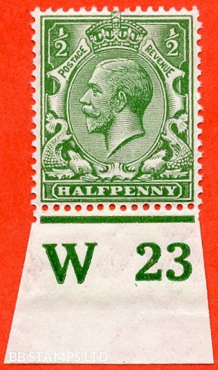 """SG. 351. ½d Green. A fine mounted mint """" W23 imperf """" control single"""