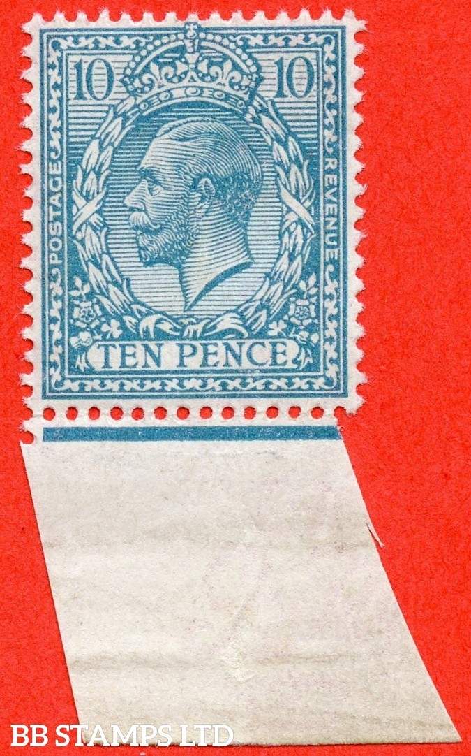 SG. N31 (UNLISTED). 10d Pale Bright Greenish Blue. A superb UNMOUNTED MINT bottom marginal example of this scarce known but UNLISTED by SG. George V shade variety. With Hendon certificate.