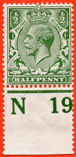 """SG. 351. ½d Green. A fine mounted mint """" N19 perf """" control single"""