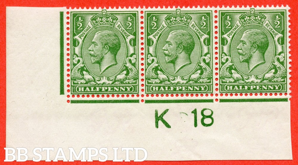 """SG. 354. N14 (8). ½d yellow green.  A fine UNMOUNTED MINT control """" K18 imperf """" strip of 3. Watermark type II which is UNLISTED in SG."""