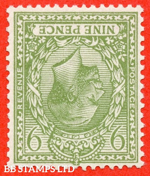 SG. 393b wi. N30 (2) a. 9d pale olive green. INVERTED WATERMARK. A super UNMOUNTED MINT example.