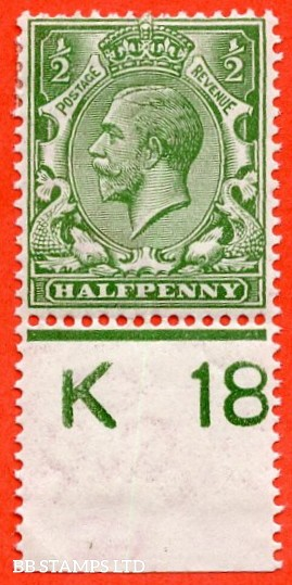 """SG. 351. ½d Green. A fine mounted mint """" K18 perf """" control single"""