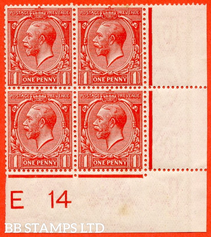 """SG. 357. N16 (1) L. 1d Bright Scarlet. A fine lightly mounted mint control """" E14 imperf """" bottom right hand corner marginal block of 4 with the RARE listed variety """" Broken frame PL.17 Row 19/12 """""""