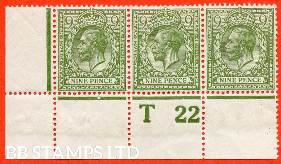 """SG. 393a. N30 (1). 9d olive green. A super UNMOUNTED MINT control """" T22 perf """" strip of 3. Perf type 2A and watermark type III."""