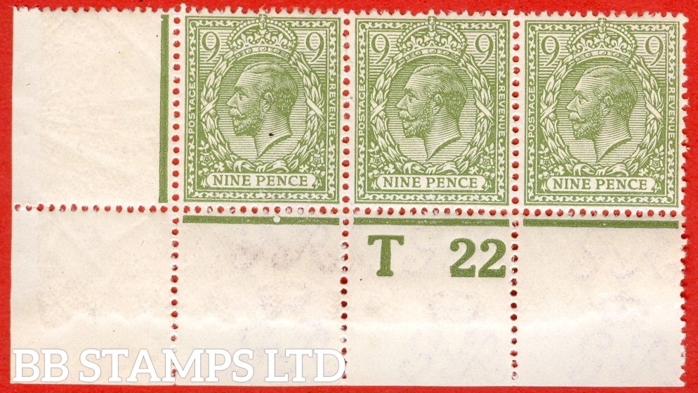 """SG. 393a. N30 (1). 9d olive green. A super very lightly mounted mint control """" T22 perf """" strip of 3 from plate 1f. Perf type 2A and watermark type III."""