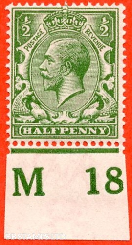 """SG. 351. ½d Green. A fine mounted mint """" M18 imperf """" control single"""