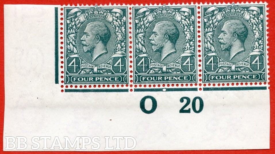 """SG. N23 (7). 4d Deep Slate Green. A superb UNMOUNTED MINT """" control 020 imperf """" strip of three of this very difficult George V shade complete with RPS certificate. A RARE multiple these days."""