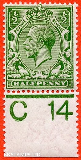 """SG. 351. ½d Green. A fine mounted mint """" C14 perf """" control single."""