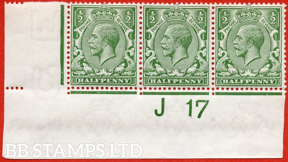 """SG. 351. N14 (1) k. ½d Green. A very fine lightly mounted mint """" J17 imperf """" strip of 3. Perf type 2 from plate 43a and including the listed variety """" coloured mark on right dolphins eye ( row 20/2 ). """""""