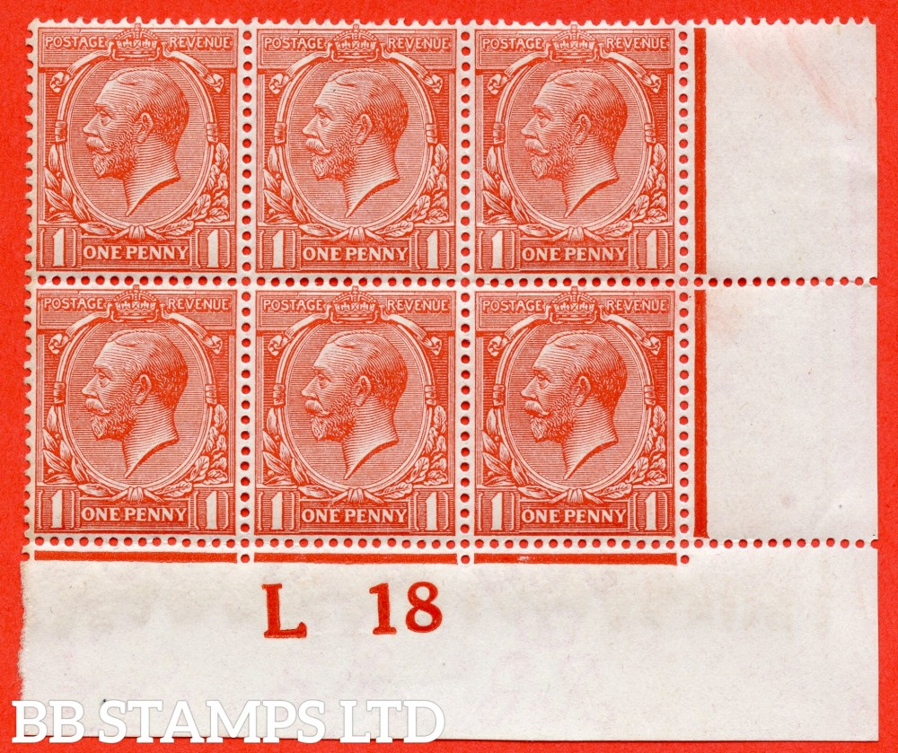 """SG. N16 (15). 1d Orange - Vermilion. A very fine mint ( 5 stamps UNMOUNTED MINT ) control """" L18 imperf """" block of 6 of this scarce shade complete with RPS certificate."""