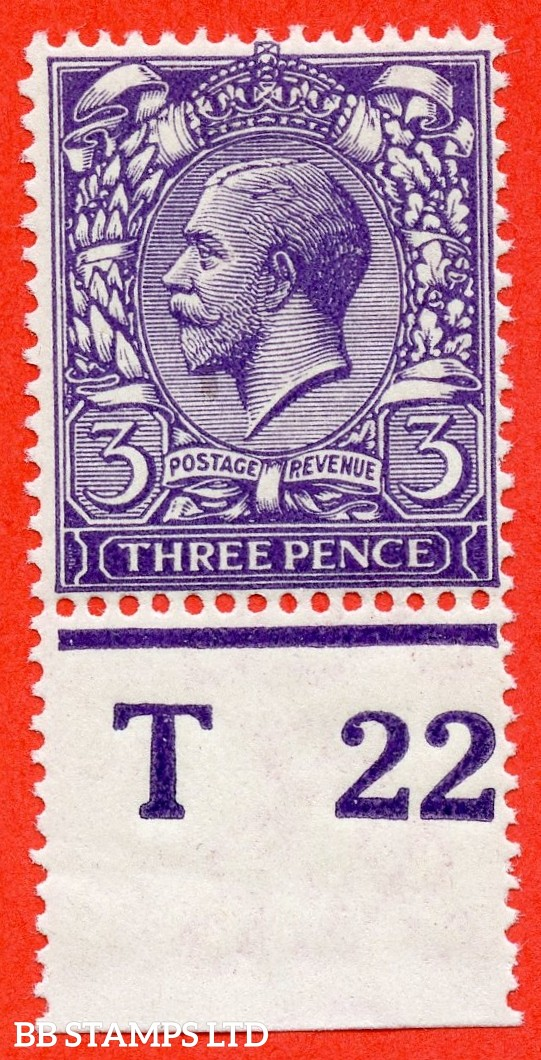 "SG. 376. Variety N22 ( 10 ). 3d Very Deep Violet. A fine UNMOUNTED MINT control "" T22 perf "" example complete with RPS certificate."