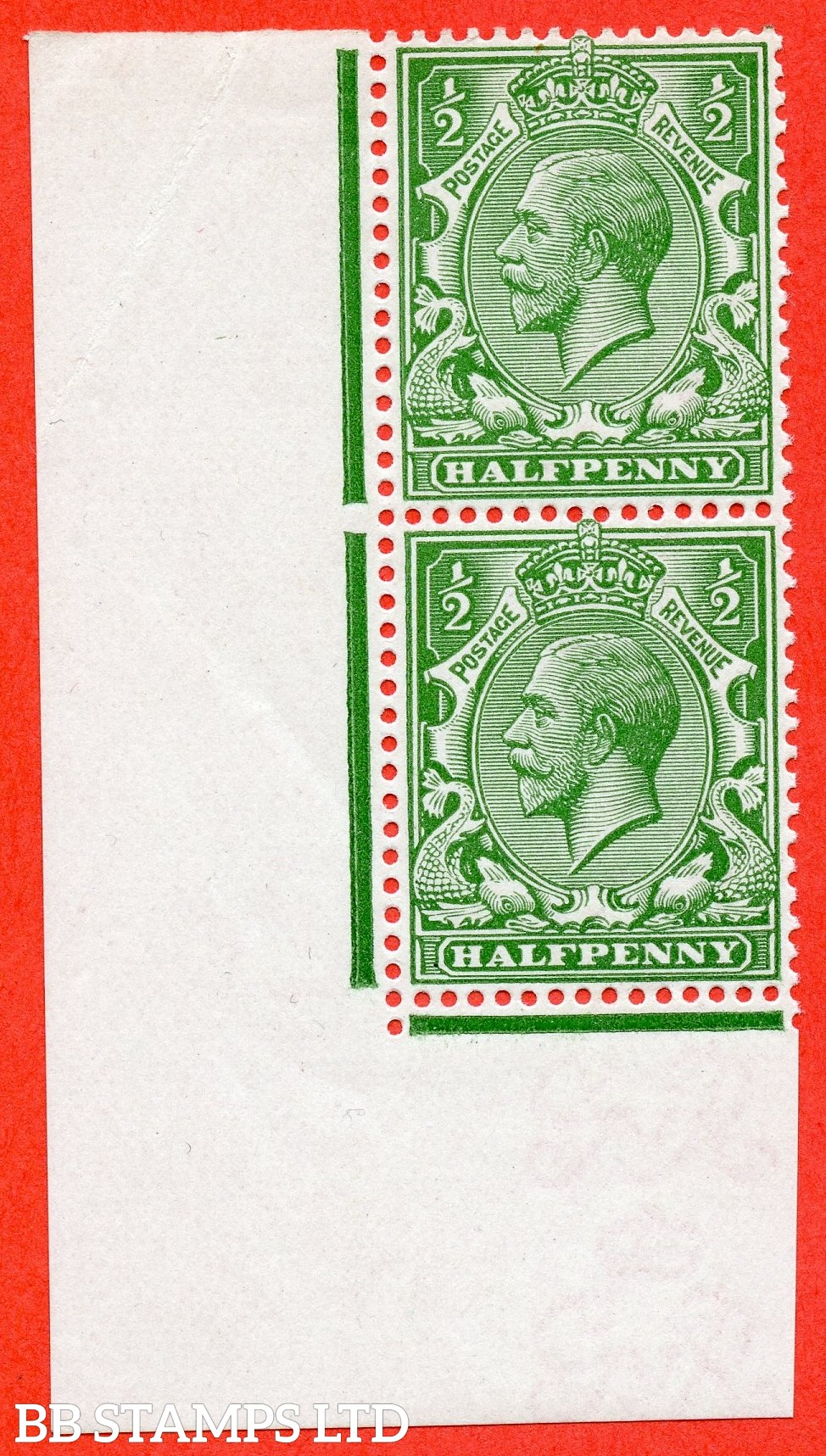 "SG. 352. N14 (6) ea. ½d bright green. "" DOUBLE WATERMARK "". A very fine UNMOUNTED MINT bottom left hand corner marginal vertical pair. Complete with RPS certificate."