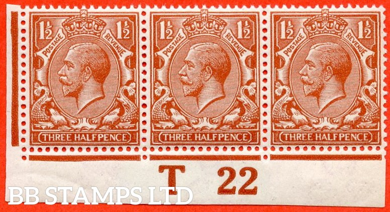 """SG. 364 Variety N18 (14). 1½d Bright Chestnut. A fine UNMOUNTED MINT control """" T22 imperf """" strip of 3 complete with RPS certificate."""