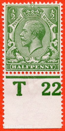 """SG. 351. ½d Green. A fine mounted mint """" T22 imperf """" control single"""