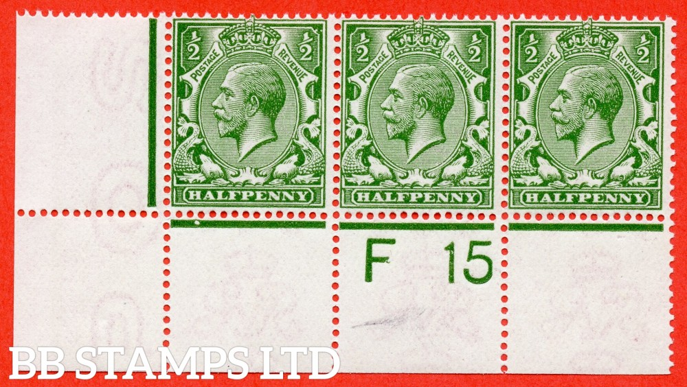 """SG. N14 ( UNLISTED ). ½d deep dull olive-green. A very fine UNMOUNTED MINT control """" F15 perf """" strip of 3 of this known but unlisted by SG George V shade variety. Complete with Hendon certificate."""