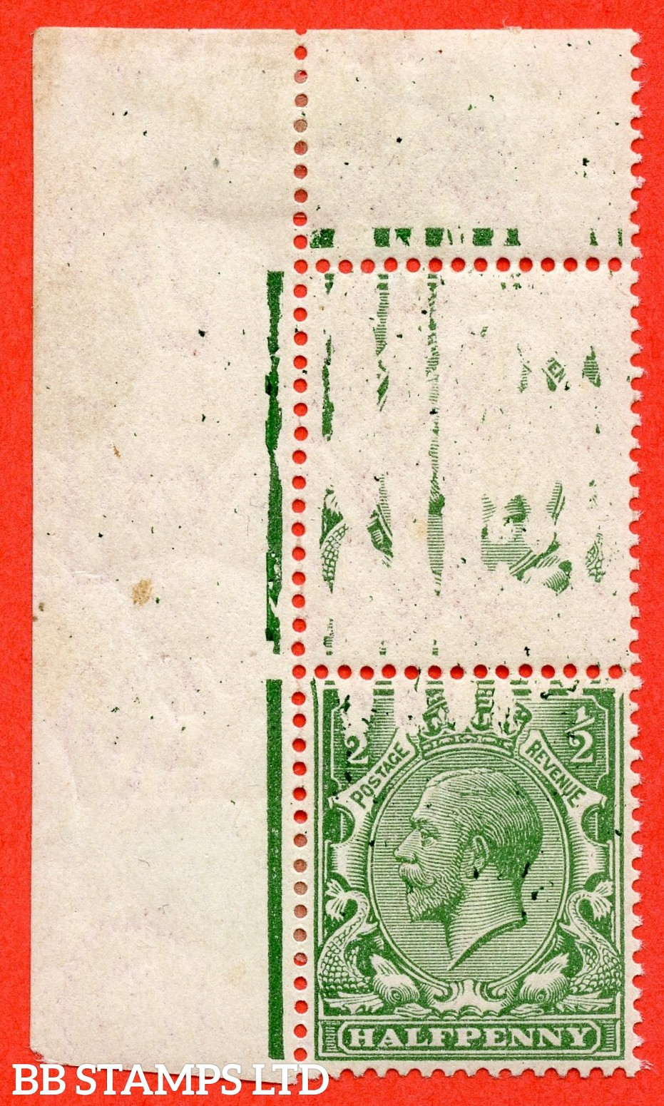 """SG. 351 N14 (1). ½d green. A fine mounted mint top left hand corner marginal pair with a fine and visual  """" DRY PRINT ERROR """". Watermark type III. A spectacular error."""