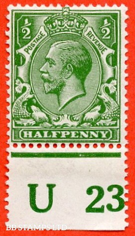"SG. 351. ½d Green. A fine mounted mint "" U23 perf "" control single"