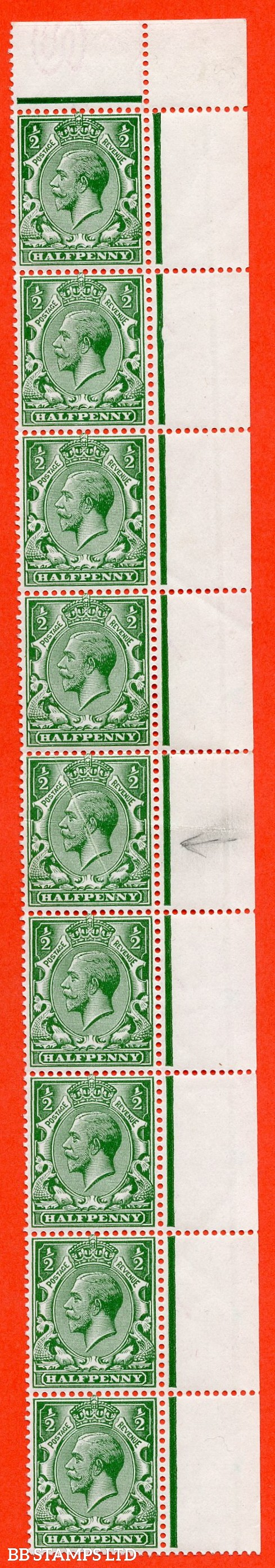 "SG. 356. N14 (14) b. ½d blue green. "" NO WATERMARK. A superb UNMOUNTED MINT right hand marginal vertical strip of 9. 6 stamps with no watermark with RPS certificate. Stamp 5 with nice pre - printing paper fold error."