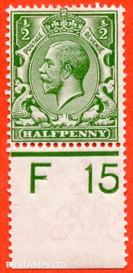 """SG. 351. ½d Green. A fine mounted mint """" F15 perf """" control single."""