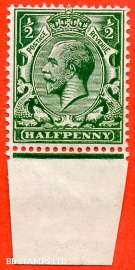 SG. 356 variety N14 (16) ½d Deep Myrtle Green. A super UNMOUNTED MINT bottom marginal example complete with RPS certificate.