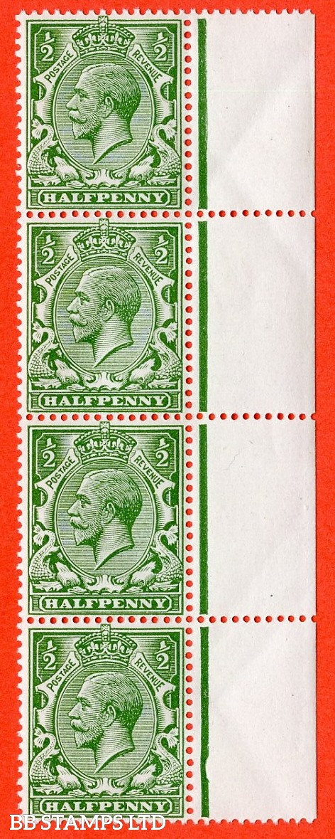 """SG. 352. N14 (6) b. ½d bright green. """" NO WATERMARK """". A fine UNMOUNTED MINT right hand marginal vertical strip of 4. Complete with RPS certificate."""
