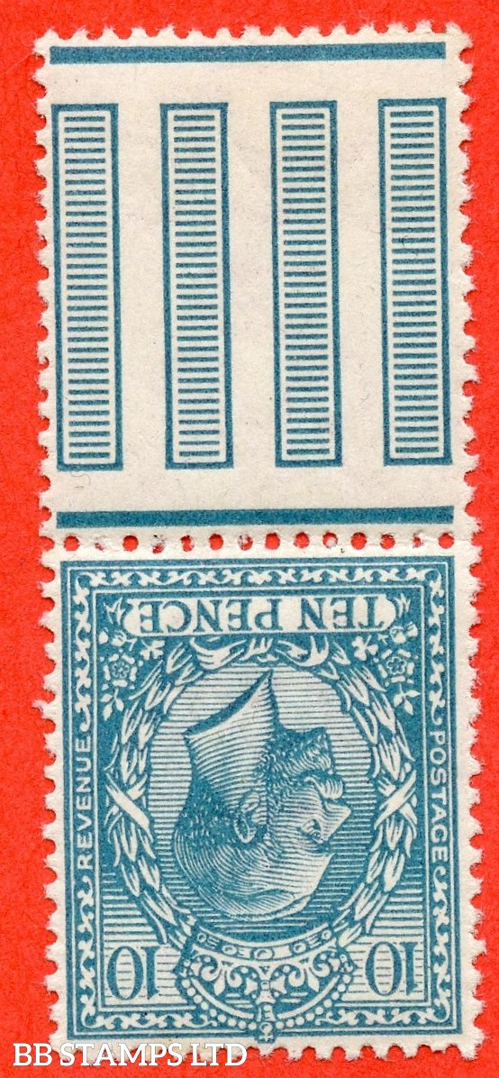 SG. 394 wk. N31 (2) b . 10d Turquoise - Blue. INVERTED & REVERSED WATERMARK. A very fine UNMOUNTED MINT interpanneau marginal example of this scarce watermark variety.