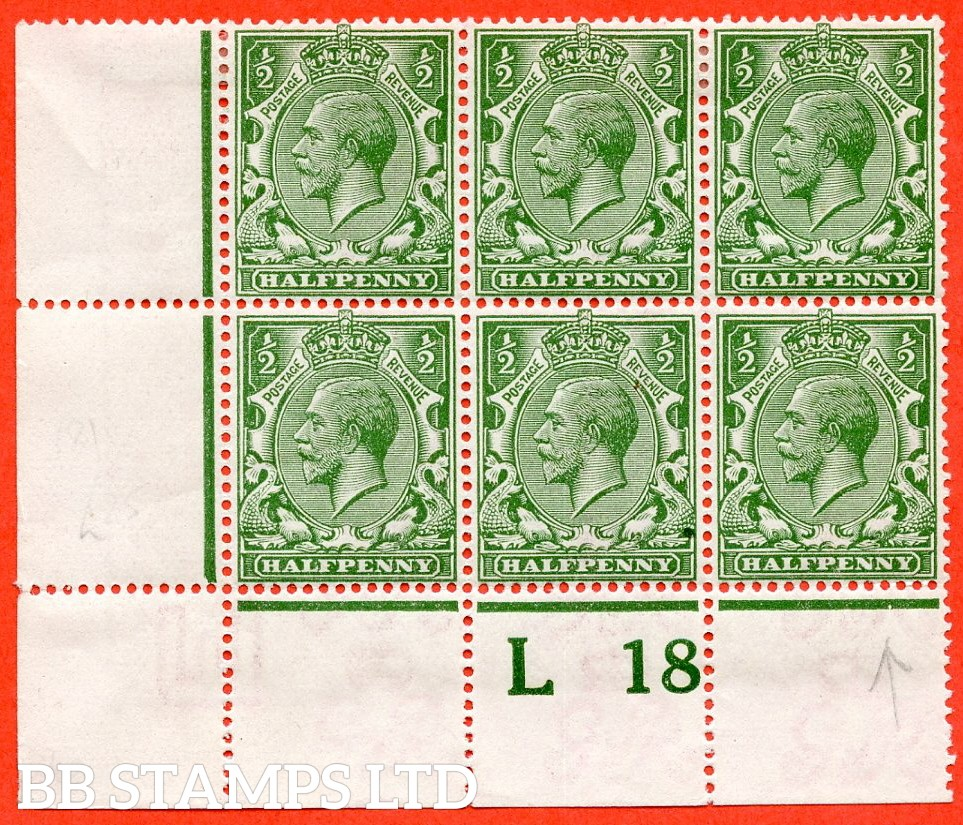 """SG. 354. N14 (8) k. ½d Yellow Green. A very fine mint control """" L18 perf """" block of 6. Perf type 2A from plate 43b and including the listed variety """" coloured mark on right dolphins eye ( row 20/2 ). """""""