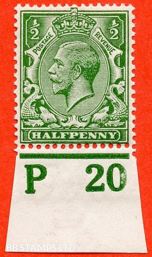 """SG. 351. ½d Green. A fine mounted mint """" P20 imperf """" control single"""