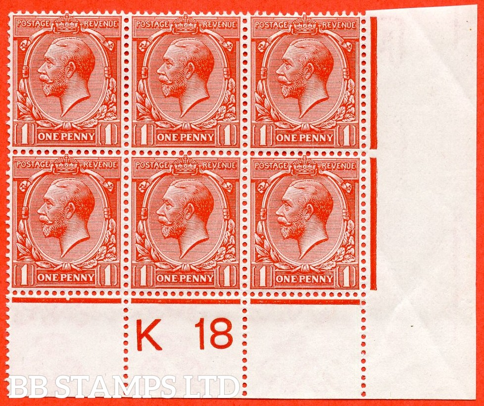 "SG. 361. N16 (14 ). 1d Scarlet - Vermilion. A fine mint ( 4 stamps UNMOUNTED ) control "" K18 perf "" block of 6. Perf type 2A and complete with RPS certificate."