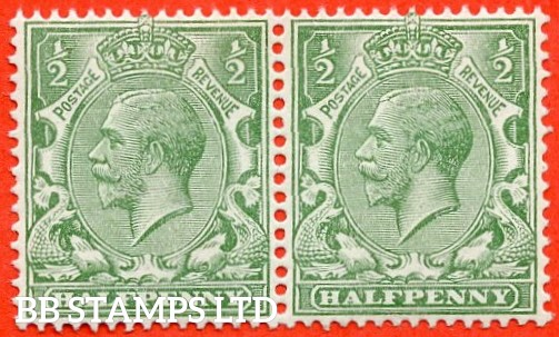 SG. 353 variety N14 (4). 1/2d very pale green. A very fine UNMOUNTED MINT horizontal pair of this scarce George V shade complete with RPS certificate.