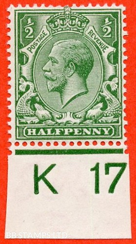 """SG. 351. ½d Green. A fine mounted mint """" K17 imperf """" control single."""