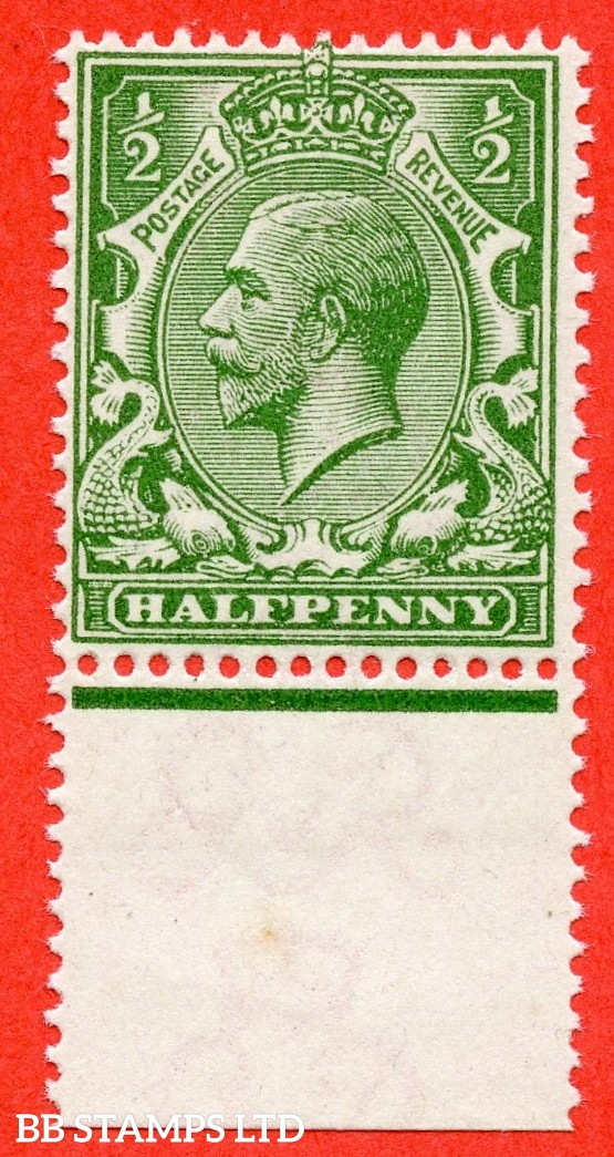 SG. N14 (UNLISTED). ½d deep yellow green. A super UNMOUNTED MINT bottom marginal example of this known but unlisted by SG. George V shade variety. Complete with Hendon certificate.