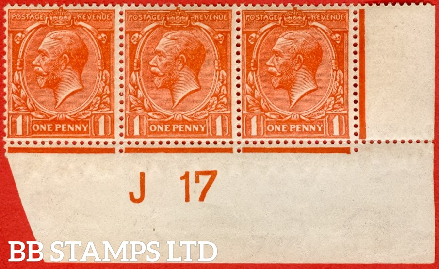 """SG. N16 (16). 1d Deep Orange - Vermilion. A very fine mint control """" J17 imperf """" strip of 3 of this RARE George V shade variety. Perf type 2 and complete with certificate."""