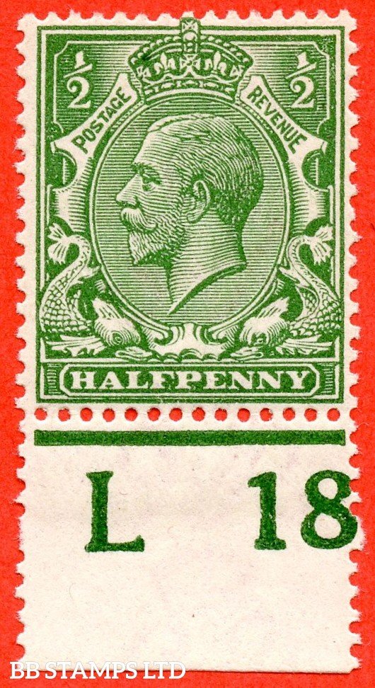 """SG. 351. N14 (1) k. ½d Green. A very fine UNMOUNTED MINT control """" L18 perf """" example. Clearly showing the listed variety """" coloured mark on right dolphins eye ( row 20/2 ). """""""