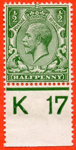 """SG. 351. ½d Green. A fine mounted mint """" K17 perf """" control single"""