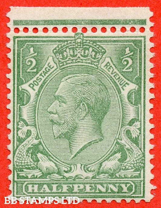SG. 353 variety N14 (4). 1/2d very pale green. A very fine UNMOUNTED MINT top marginal example of this scarce George V shade complete with RPS certificate.