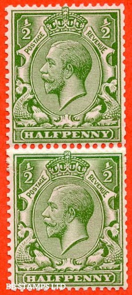 "SG. 397. N15 (1) e. ½d bright green. A very fine UNMOUNTED MINT "" COIL JOIN "" vertical pair."